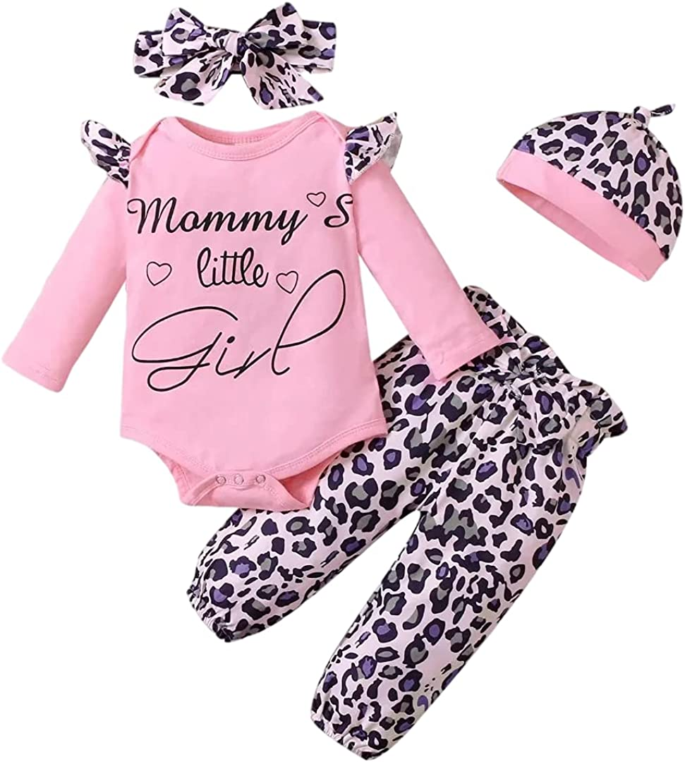 Baby Girl Clothes Infant Outfits 4Pcs Long Sleeve Ruffle Romper+ Floral Pants+Headband 0-18 Months