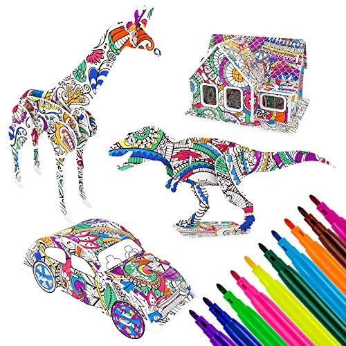 MOOKLIN ROAM 4 Pack Puzzle 3D Auto Dinosaurio, Inteligencia Mágico Kit de Construcción Rompecabezas con 10 Rotuladores, Puzzles 3D Souvenir Regalo de Juguete para Adolescentes y Adultos