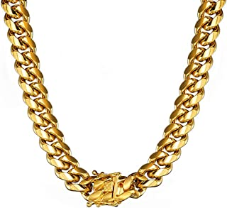 Jewelry Kingdom 1 Necklace or Bracelet for Men, 24K Gold Cuban Link Chain, Big and Heavy Miami Chain, 15MM Stainless Steel Curb Chain Choker for Boys and Bikers 8-30inches