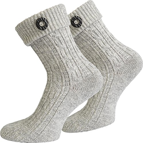 normani Trachten Socken im Landhaus Stil mit Baumwolle und schönem Strickmuster Farbe Silbermelange mit Knopf Größe 43/46