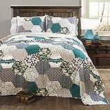 Lush Decor Briley Quilt 3 Piece Reversible Print Hexagon Pattern Patchwork Neutral Bedding Set, King, Turquoise Blue