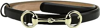 Women's Gold Horsebit Buckle Cocoa Brown Leather Skinny Belt 282349 2140