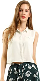 Allegra K Women's Sleeveless Point Collar Button Down Short Crop Shirt