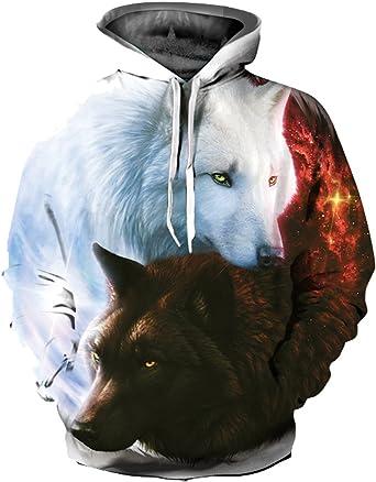 OYABEAUTYE Hombre Unisex Sudaderas con capucha Impreso Arte Suéter Cuello Redondo de Mangas Largas con varios estilos (Large / X-Large, Lobo T)