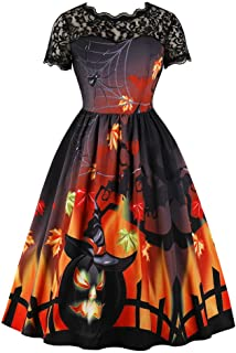 iLOOSKR Women Halloween O-Neck Vintage Printed Lace Short Sleeve Evening Party Dress Swing A-Line Dress Mid-Calf