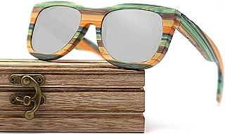 CZA - CZA Hecho a Mano para Hombre de Las Gafas de Sol de bambú del Brazo de Madera con Patas de Madera y Lentes polarizadas Gafas de Madera,Coated Silver