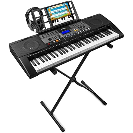 MAX KB3 Teclado Electrónico piano de 61 teclas con función Touch con Auricular y soporte de suelo regulable en altura