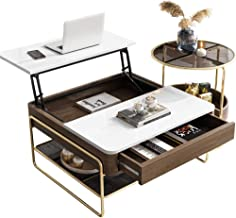 Coffee Table w/Hidden Storage Compartment - Adjustable Tabletop Dining Table with Drawer and Shelf for Home Living Room