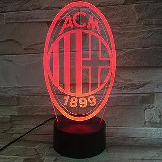 WCSMQT WCSMQT AC Milan 3D LED Nachtlicht Touch-Schalter Schlafzimmer Nachttischlampe mit USB-Netzkabel Kindergeschenk Tischdekoration