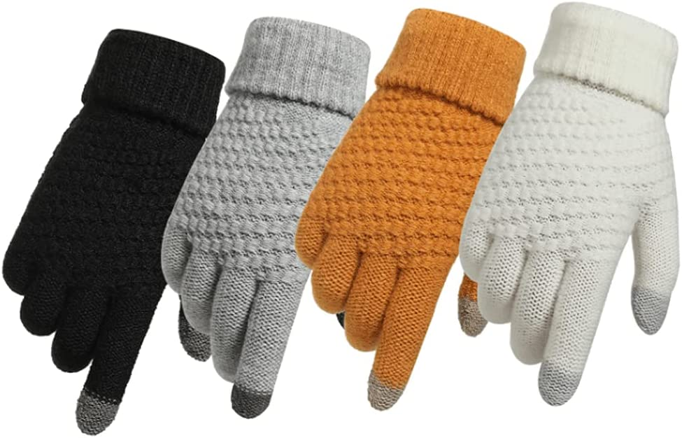 Kxlqh Set of 4 Winter Knit Gloves,Thicken Warm Classic Fashion Soft Thermal Gloves, Texting Gloves Touchscreen Gloves for Cold Winter Outdoors Activities