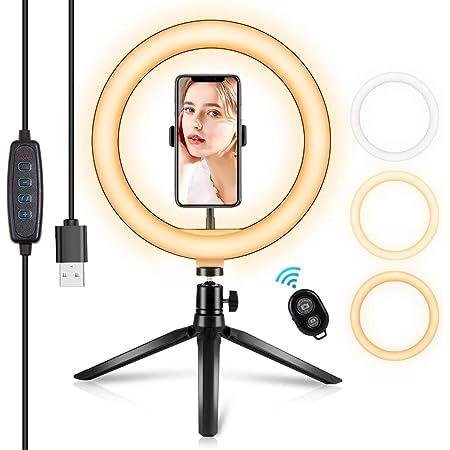 LOLO Aro de Luz Led 10.2 Pulgadas para Selfies Fotografia Videos Tripie para Celular con Luz Led Macro y Anulares para YouTube / Vlog / Video Compatible con iPhone / Moto / Samsung/ Huawei /Xiaomi Android Celulares (10.2 Pulgadas)
