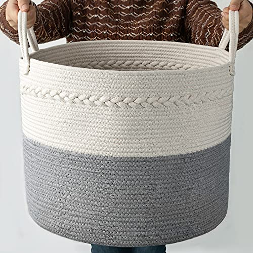 COSYLAND Extra Large Woven Storage Basket 17'x 17'x15' Cotton Rope Organizer Baby Laundry Baskets for Blanket Toys Towels Nursery Hamper Bin with Handle