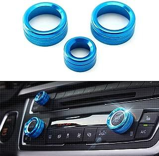 iJDMTOY 3pcs Blue Anodized Aluminum AC Climate Control and Radio Volume Knob Ring Covers For BMW 1 2 3 3GT 4 Series (F20 F22 F30 F31 F32 F33 F80 F82 F87)
