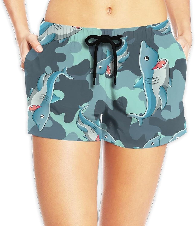 Women's Summer Quick Dry Swim Shorts Camo Shark