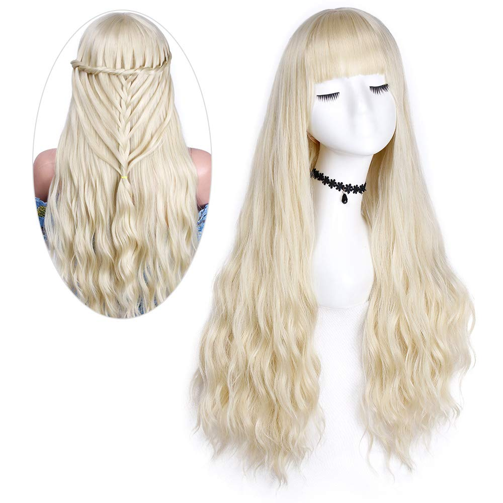 Forqueens Long Curly Wig Blonde Synthetic Natural Long Wavy Wig With Bangs Heat Resistant Fiber For Women Platinum Blonde Buy Online In Trinidad And Tobago At Desertcart