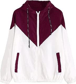 contrast zip up drawstring hooded jacket