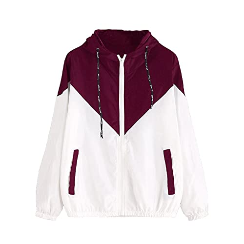 ed692593da03 Milumia Women s Color Block Drawstring Hooded Zip Up Sports Jacket  Windproof Windbreaker