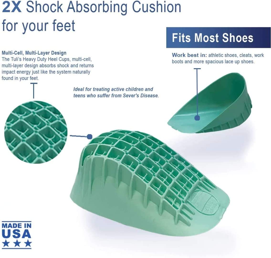 Small Tuli/'s Heavy Duty Heel Cups Severs Disease and Heel Pain Relief Green Pro Heel Cup Shock Absorption and Cushion Inserts for Plantar Fasciitis