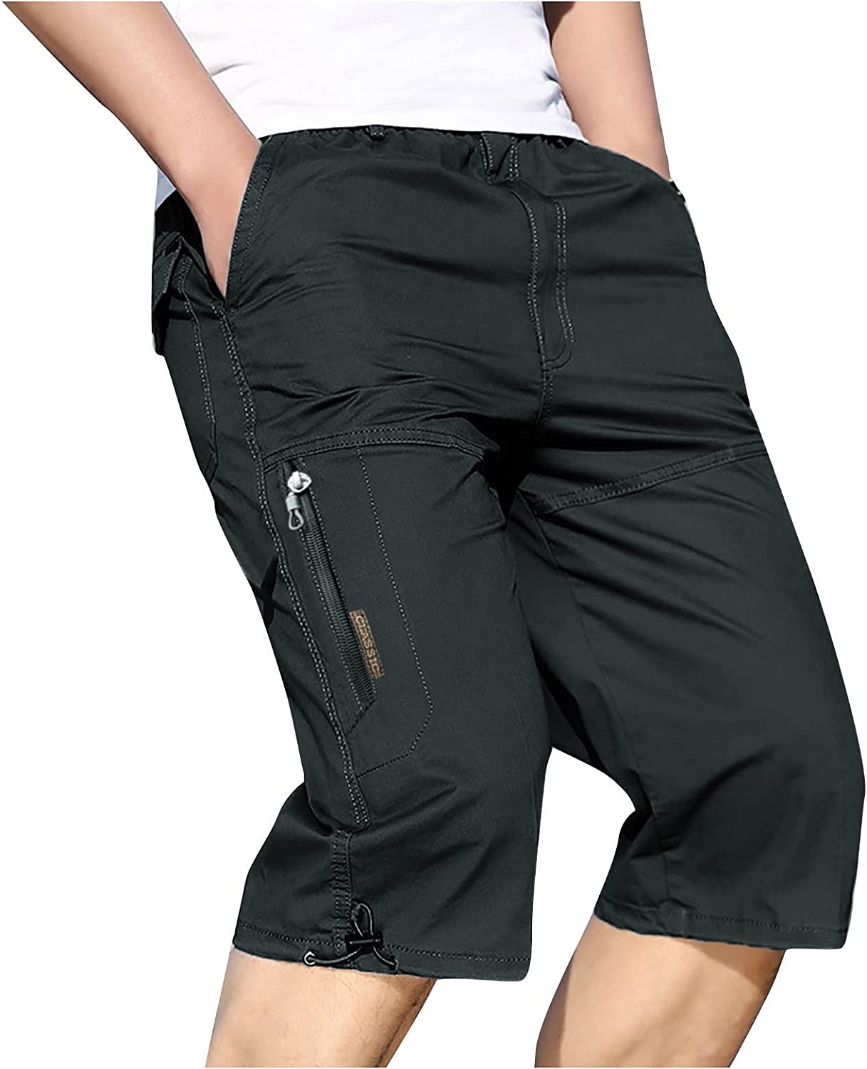 Men's Summer Casual Shorts Zipper Pockets Knee Length Sports Pants Solid Color Outdoor Fashion Cargo Shorts - Limsea