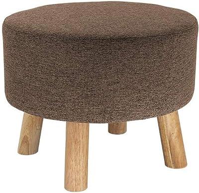 Luxury Padded Wooden Footstool Ottoman Pouffe Stool Linen 4 Legs Foot Rest Large