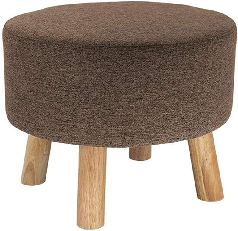 Round Wood Support Upholstered Footstool Ottoman Pouffe Stool Footrest 4 Legs And Removable Linen Cover Gray