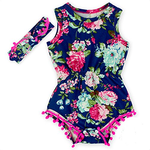 Floral Flower Rompers for Baby Girls with Headband 0-2T Baby Girl Clothes Bodysuit Romper Jumpsuit One-Pieces Outfits Set (0-6 m, Dark Blue)