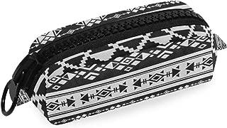Pencil Case Big Plastic Zipper Black African Aztec Tribal Pencil Holders for Women/Students