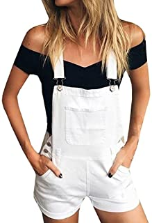 Lutratocro Womens Braces Washed Stretchy Adjustable Strap Hole Denim Bib Overalls