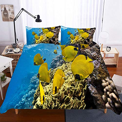 AHJJK Duvet cover set 79 x 79 inchAnimals Yellow Fish 3D Printed Microfiber Bedding Duvet Cover with 2x Pillowcases & Zipper Closure Quilt Case for Boy Girl Single Double King Bed