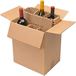 """U-Haul Corrugated 6 Bottle Wine Shipping & Packing Kit - Includes a 12-1/8"""" x 9-1/4"""" x 14-1/2"""" Box & Corrugated Protection Inserts"""