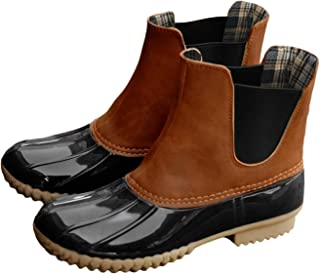 Womens Duck Boots Waterproof Slip on Outdoor Insulated Two Tone Winter Rain Shoes