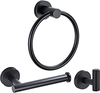 Marmolux Acc Bathroom Hardware Accessories Set Matte Black 3-Piece Set Includes Hand Towel Ring, Robe Hook, Toilet Paper Holder Heavy Duty Stainless Steel Wall Mount Paper Towel Holder Hanger