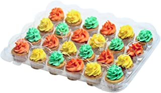 OccasionWise 24 Mini Cupcake Container Box - Perfect for Mini Cupcakes with Tall Toppings - 5 Pack