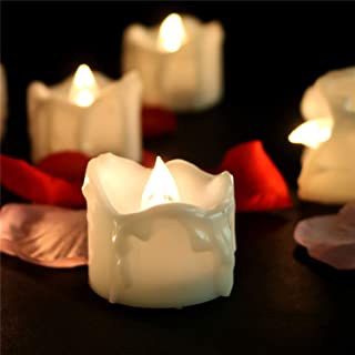 Flicker Timer Candle(6 Hours On 18 Hours Off Cycle) Small Electric Timed Flameless Unscented Fake Artificial Decorative Tear Drop Shape Votive Battery Tealight For Christmas New Year, 12 Pack, 6012T