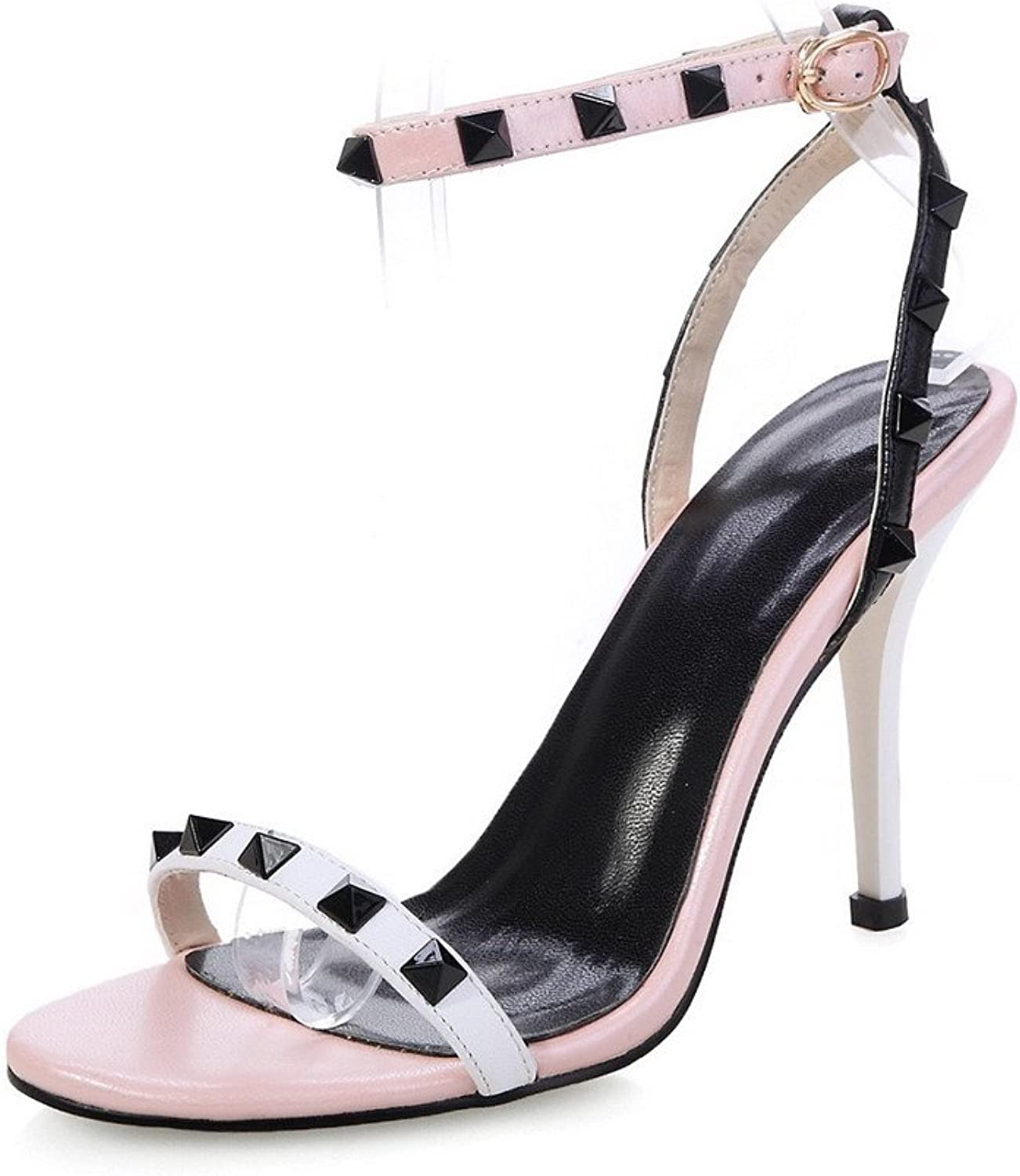 AmoonyFashion Women's Solid Cow Leather High-Heels Open Toe Buckle Sandals
