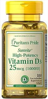 Puritans Pride Vitamin D3 1000 Iu Softgels, 100 Count