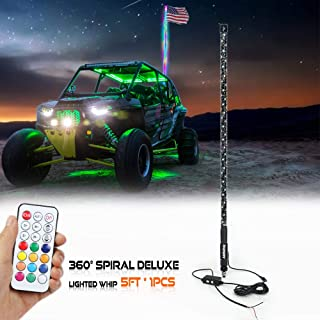AddSafety 5FT RF Remote Controll 360° Sprial LED Whips light With Dancing/Chasing Light LED Antenna Light For Off- Road Vehicle ATV UTV RZR Jeep Trucks Dunes.