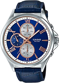 Casio Men's Quartz Watch, Analog Display and Leather Strap Mtp-E316L-2A2Vdf, Blue Band