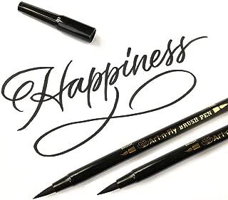 Art-n-Fly Dual Tip Black Brush Pens for Lettering Calligraphy Pen. Fine and Large Black Brush Marker for Drawing (Pack of 2)
