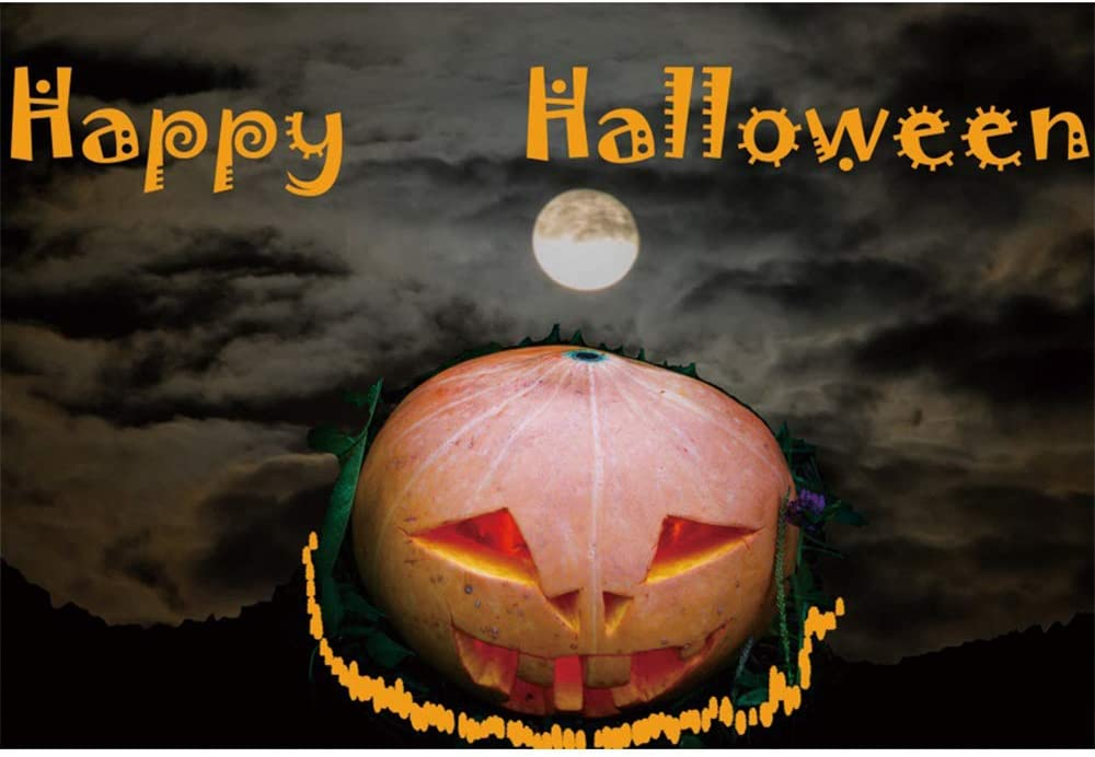 CSFOTO 7x5ft Halloween Backdrop Halloween Theme Party Photography Background Grimace Pumpkin Bats Full Moon Withered Tree Child Baby Portrait Photo Polyester Wallpaper
