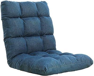 フロアチェア座椅子低反発 リクライニング 畳椅子背部坐骨神経痛クッション瞑想椅子腰部サポートシートを和らげる (色 : 青, サイズ : 55*115*11cm)