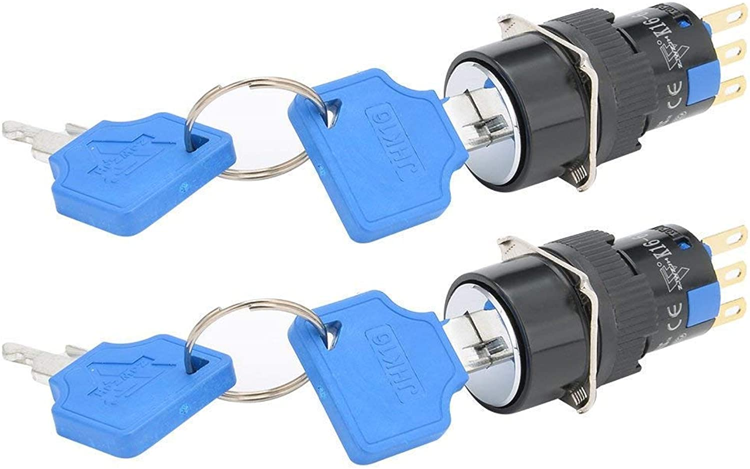 2Pcs Thread Mounting Keylock Selector Switch Round SPDT On Off 2 Position