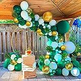 Guirnalda Globos Verdes, Arcos de Globos Tropicales Selva Safari con Globos y Hojas de Oro Metálico Verde Para Wild One, Primer Cumpleaños, Baby Shower, Suministros para Fiestas de Bodas.…