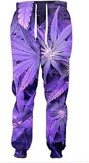 Fashion Purple Weed Leaf Joggers Women Men Full Length Trousers 3D Pants Casual Sweatpants