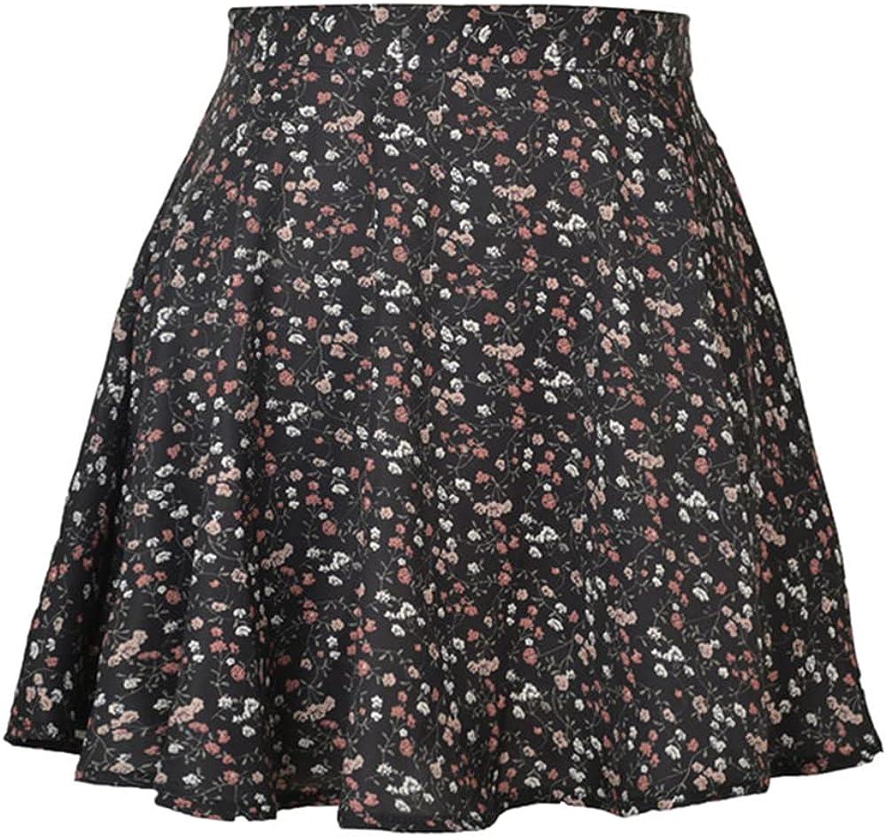 Women's Chiffon Floral Waist Skirts Casual Streetwear Lady Zipper