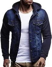 Muranba Mens Autumn Winter Denim Jacket Flannel Lined Hooded Vintage Coat