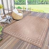 VIMODA Robuster Flachgewebe Teppich In- und Outdoor Tauglich, Farbe:Beige, Maße:140 x 200 cm