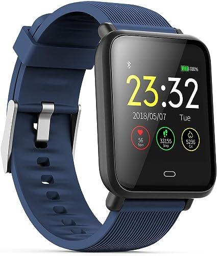 ZGYYDY Montre Intelligente Pression artérielle Fréquence Cardiaque Moniteur de Sommeil Bracelet Ip67 étanche Sport Fitness Trakcer Montre Hommes Femmes Smartwatch Pas Boîte Bleu