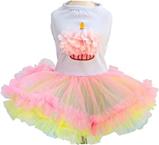 Ollypet Cute Tutu Dresses for Girls Dogs Clothes Cupcake Apparel Small Cats Puppy