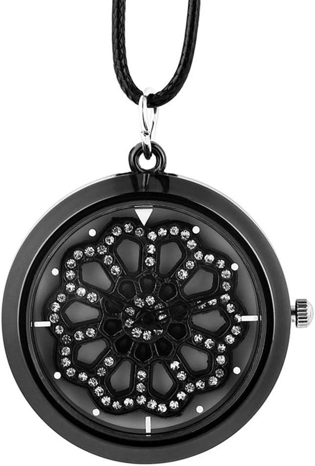 DBSCD Regalos Navidad,Reloj Bolsillo Crystal Diamond Mujer Collar Reloj Cuerda Cuero Reloj Cuarzo Colgante Reloj Giratorio Superior Reloj para niña